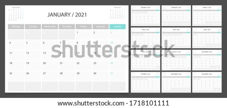 Calendar 2021 week start Monday corporate design planner template. Royalty-Free Stock Photo #1718101111