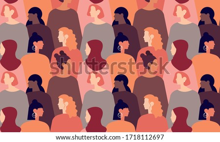 International Womens Day. Pattern women different nationalities and cultures illustration. Struggle for freedom, independence, equality #1718112697