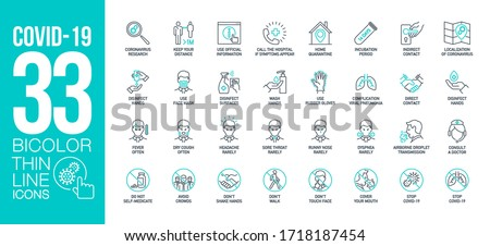 Prevention and symptoms Coronavirus Covid 19 line icons set isolated on white. Perfect outline health medicine symbols pandemic banner. Quality design elements virus treatment with editable Stroke #1718187454