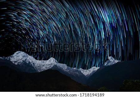 Star Trails, The Annapurna massif at night, view from Ghandruk, Nepal #1718194189