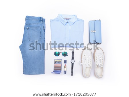 Set of female clothes and accessories ,make up on white background . Flat lay,    #1718205877