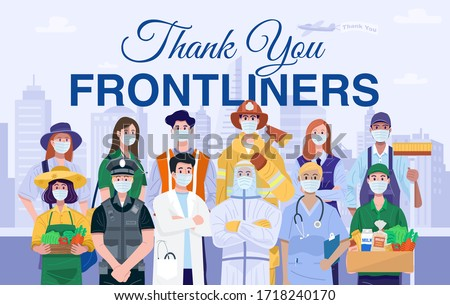 Thank You Frontliners Concept. Various occupations people wearing protective masks. Vector #1718240170
