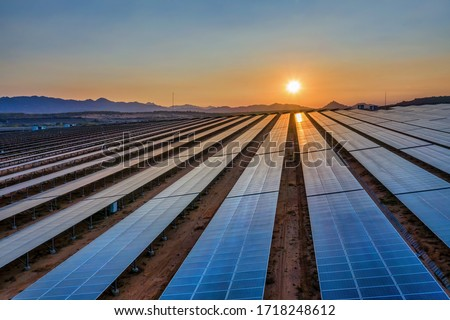 Aerial view of Solar panel, photovoltaic, alternative electricity source - concept of sustainable resources on a sunny day, Phuoc Dinh, Ninh Phuoc, Ninh Thuan, Vietnam #1718248612