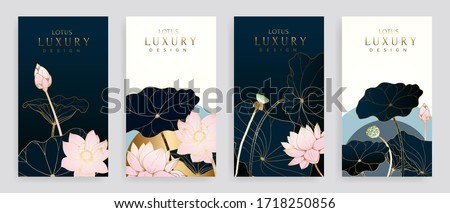 Luxury cover design template. Lotus line arts hand draw gold lotus flower and leaves. Design for packaging design, social media post, cover, banner, creative post, Gold geometric pattern design vector #1718250856