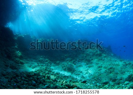 Underwater scenery with rocks and sun rays. Image taken scuba diving in Indonesia Royalty-Free Stock Photo #1718255578