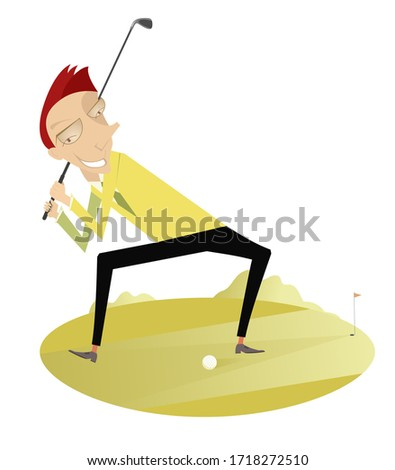 Smiling golfer on the golf course illustration. Smiling golfer on the golf course tries to do good hit