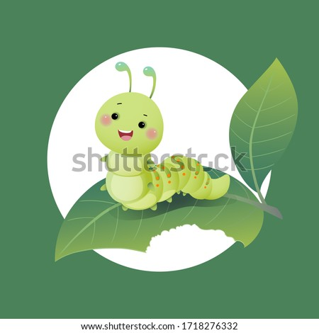 Vector illustration cute cartoon caterpillar chewing green leaf.
