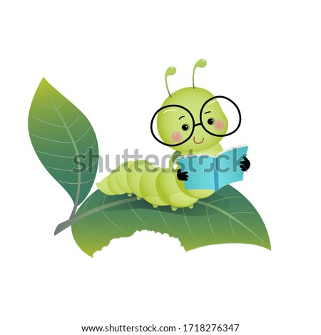 Vector illustration cute cartoon caterpillar wearing glasses and reading a book on the leaf.