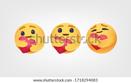 Care reactions emoticon 2020 high quality vector social media button Emoji Reactions printed on white paper Popular social networking #1718294083