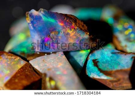 The play of color in Australian precious boulder opal.