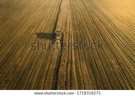 Harvester on the field. Aerial view. Sunset light #1718318275