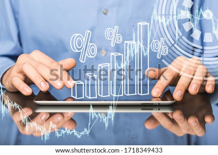 Business analysis, modern technology concept. Businessman with a digital tablet #1718349433