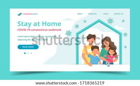 Family staying at home in self quarantine, landing page or banner template. Coronavirus outbreak concept. Cute illustration in flat style #1718365219