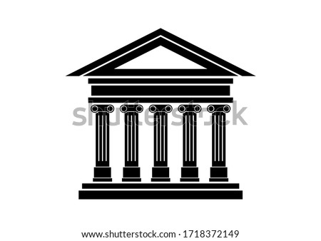 Ancient building icon. Ancient temple with columns icon. Historical building black icon isolated on a white background. Ancient greek temple illustration. Bank icon