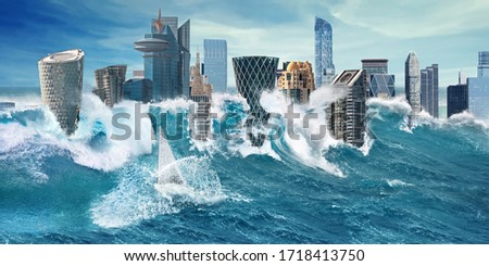 Big tsunami and flooding cataclysm in city with skyscrapers