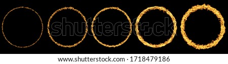 Fire flames collection isolated on black background. Fire ring. Realistic burning flame. Fiery circus circle hot hoop warm fire blazing effect red flaming isolated.