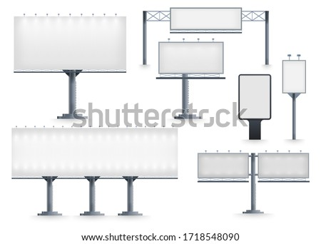 Billboard blank. Realistic empty billboard isolated on white background. City outdoor blank banner large format for advertise media. Outdoor advertising poster template. Empty bill board for ad media. #1718548090