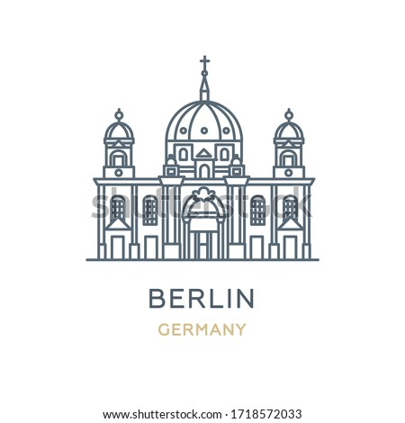Berlin city, Germany. Line icon of the famous and largest city in Europe. Outline icon for web, mobile, and infographics. Landmark and famous building. Vector illustration, white isolated.  Royalty-Free Stock Photo #1718572033