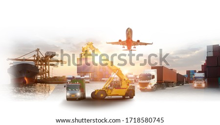 Logistics and transportation of Container Cargo ship and Cargo plane with working crane bridge in shipyard at sunrise, logistic import export and transport industry background #1718580745