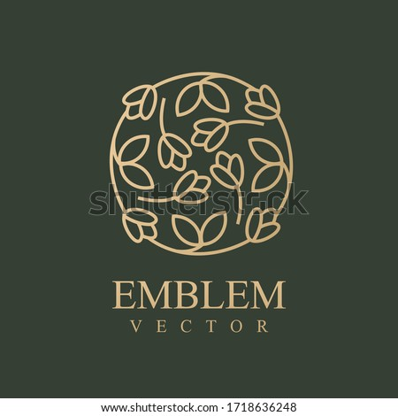 Nature logo. Floral logo. Flower icon. Floral emblem. Cosmetics, Spa, Beauty salon, Decoration, Boutique logo. Interior Icon. Resort and Restaurant Logo. Herbal, leaf, nature icon. #1718636248