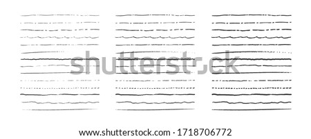 Set of lines, hand drawn dividers, doodle underlines, different thickness brush stripes. Vector frame and border element. #1718706772