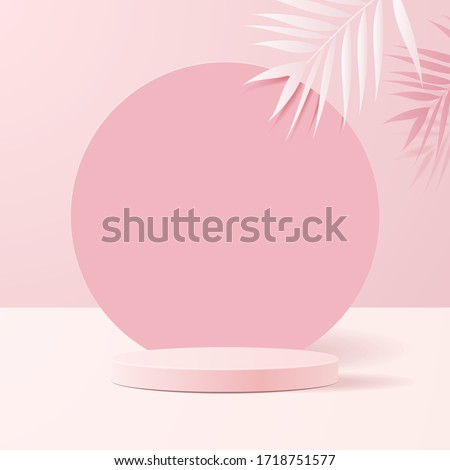 minimal scene with geometrical forms. Cylinder podiums in soft pink background with paper leaves on column. Scene to show cosmetic product, Showcase, shopfront, display case. 3d vector illustration. Royalty-Free Stock Photo #1718751577