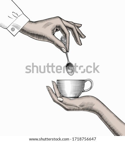 Favorite morning Cup of coffee. Women's hands hold a Cup. The concept of coffee. An old stylized drawing.
