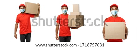 Delivery Concept - Set of Portrait of Happy African American delivery man with face mask in red cloth holding a box package. Isolated on white studio Background. Copy Space #1718757031