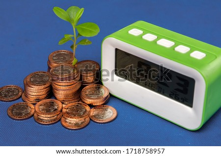 A tree growing on Nigerian coins and has a green alarm clock placed close to each other on a blue background. Concept of using time to run and grow  business. Pic taken in Port Harcourt  Nigeria 2020.