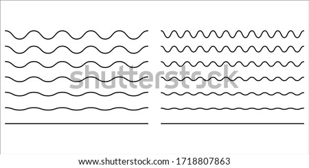 Wave line and wavy zigzag lines. Vector black underlines, smooth end squiggly horizontal, squiggles. #1718807863