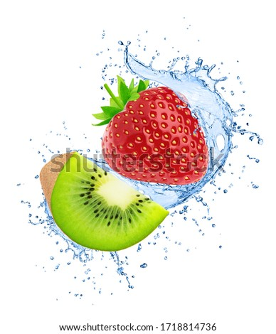 Composition with kiwi and strawberry in water splashes isolated on white background.