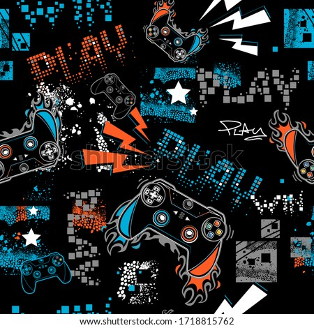 Graffiti seamless pattern with joystick sign.  Gamer elements for boy t shirt design. Repeat print with gamepad sign, fire track, lightning, stars, squares. Royalty-Free Stock Photo #1718815762