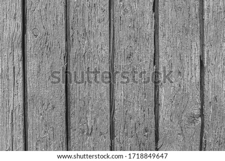 Rustic wood texture or background in monochrome. Black and white. Close-up.  #1718849647