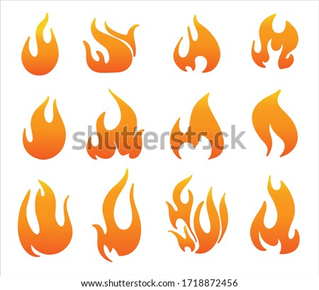Set of red and orange fire flame. Collection of hot flaming element.  Vector flame illustration