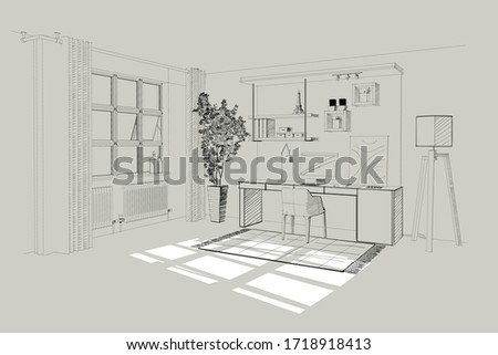 Home office interior. Vector sketch. Royalty-Free Stock Photo #1718918413
