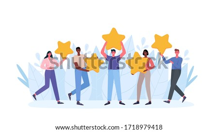 People are holding stars, giving five star Feedback. Clients choosing satisfaction rating and leaving positive review. Feedback consumer, customer review evaluation. Flat cartoon vector illustration. #1718979418