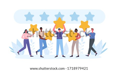 People are holding stars, giving five star Feedback. Clients choosing satisfaction rating and leaving positive review. Feedback consumer, customer review evaluation. Flat cartoon vector illustration. #1718979421