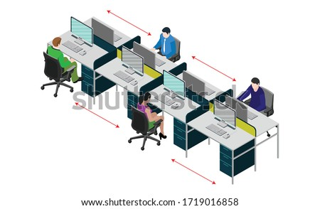 Social distancing at office workstation. Employees are working together on desk with maintaining distance for covid 19 virus. Vector illustration of workstation signage. #1719016858