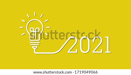 2021 creativity inspiration concepts with a light bulb on the yellow background color. the solution, planning ideas.Business, glowing #1719049066