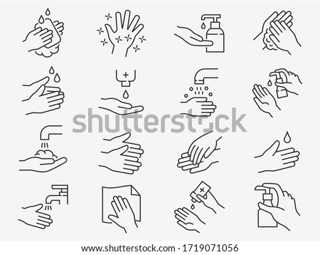 Hand washing line icons set. Vector illustration on a white background. Editable stroke. #1719071056