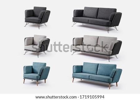 Modern sofa furniture and single sofa on white background #1719105994