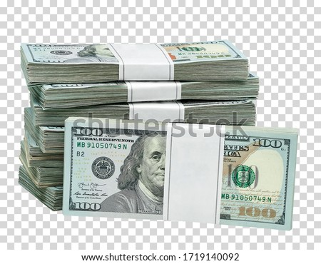 New design dollar bundles on isolated  background. Including clipping path Royalty-Free Stock Photo #1719140092