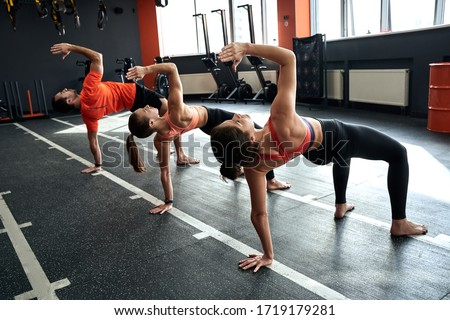Group of young adult sporty people training together in fitness center, working out at animal flow style, making crab position Royalty-Free Stock Photo #1719179281