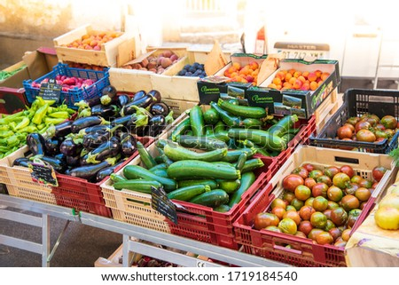 Aups, France - July  27, 2018 : Stall of fruit and vegetables on a market, France, Provence,summer #1719184540