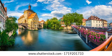Panorama of old town of Bamberg city in Germany #1719201733
