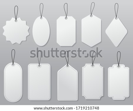 set of hanging label price or blank white paper price tag or empty badges label tag concept. eps 10 vector, easy to modify  #1719210748