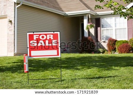 Real Estate: For Sale Sign In Front Of House #171921839