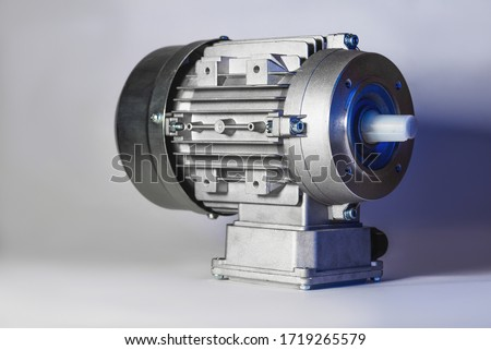 Worm motor, electric motors, induction motor and equipment for bottling lines, industrial equipment for factories. Food industry Royalty-Free Stock Photo #1719265579