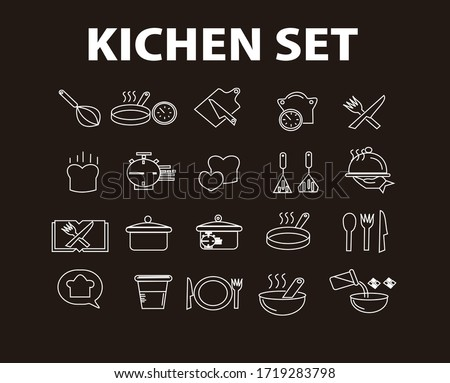 Cooking line icons. Boiling time, Frying pan and Kitchen utensils. Fork, spoon and knife line icons. Recipe book, chef hat and cutting board. Cooking book, frying time, hot pan. Vector,SIMPLE #1719283798