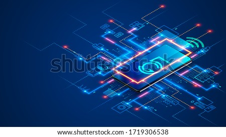 Smart home connects to IOT system via 5th generation mobile Internet over smartphone. Phone app controls internet of things with help hi speed 5g network. House automation concept, icons of devices. Royalty-Free Stock Photo #1719306538